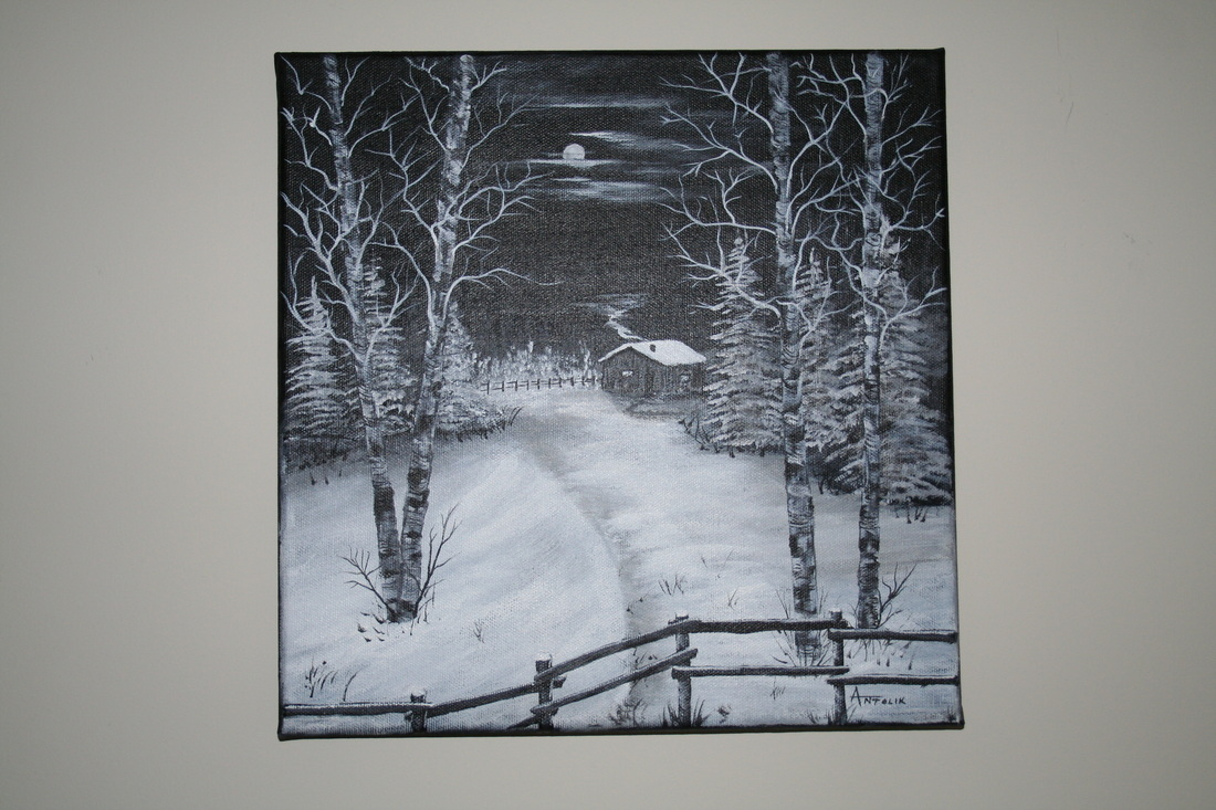 Full Moon, Painting,Black and White